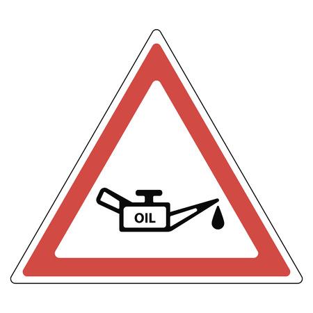 teken olieverversing, een rode driehoek met olie en een druppel olie, een verkeersbord, een wijzer naar het benzinestation van auto's, vector Stock Illustratie