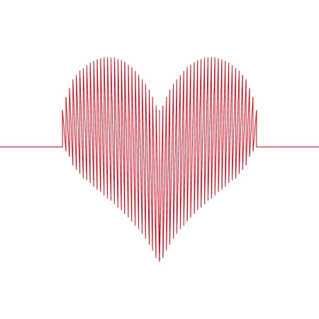 love wave heart, a heart drawn with a wavy line, love the diagram with sharp corners, vector concept Illustration