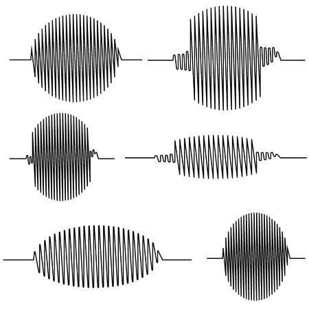 Set wavy oscillogram, seismic wave Curve, which plots the sensor with the oscilloscope oscillographic vector concept of amplitude