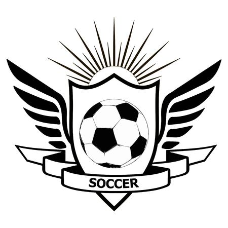logo soccer team, heraldic shield with wings banner of team soccer name and football on center, vector football style