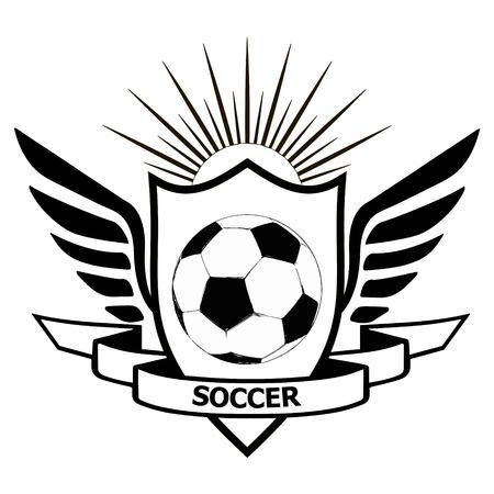 logo voetbalteam, heraldisch schild met vleugelsbanner van de naam van het teamvoetbal en voetbal op centrum, vectorvoetbalstijl