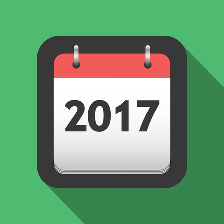 title page: 2017 calendar flat icon, title page of calendar for 2017 in flat style, vector