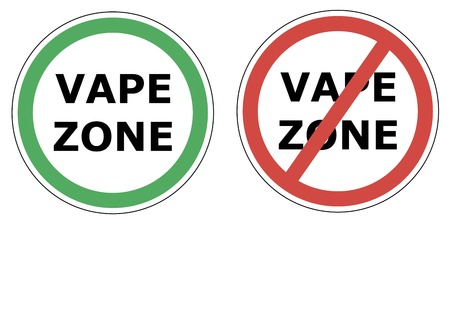 permitting: vape zone sign permitting and sign prohibiting the use of electronic cigarette, Vaping, vector sticker