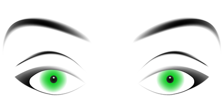 enticing: hypnotizing green eyes, enticing eyes with a loving gaze, a gaze vector template Illustration