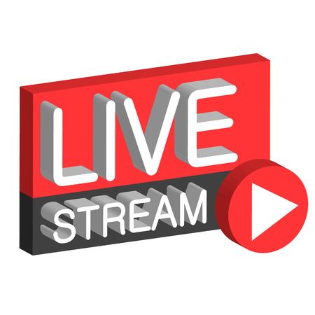 Live stream 3D button sign live webcast, the vector air stream online Illustration