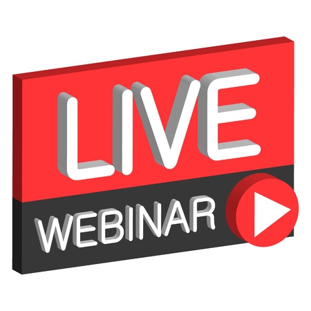 web cast: Live webinar 3D button sign live web cast, the vector air webinar online Illustration