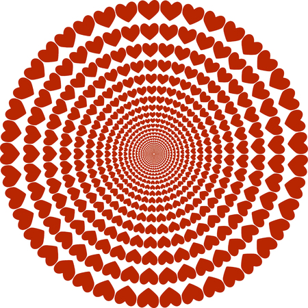 circular pattern of hearts, Valentines day, hearts are reduced to the middle of the vector template to create Valentines Illustration