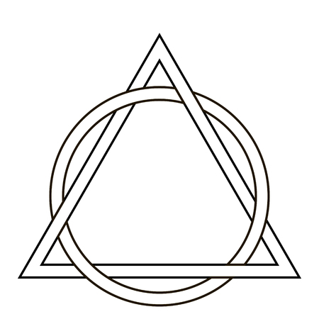 cirkel weefpatroon driehoek tattoo, driehoek verweven met de zijkanten van de cirkel, vector sjabloon tatoeage