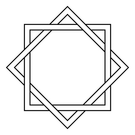 spacial: interlocking square and diamond tattoo, side of a square is infused with the sides of a rhombus, vector template tattoo star of David