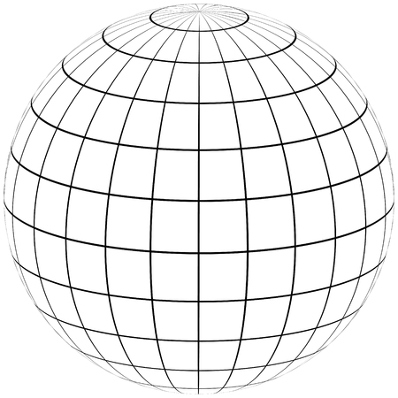 graticule globe Meridian and parallel , the field lines on the surface Meridian and parallel, vector template graticule Illustration