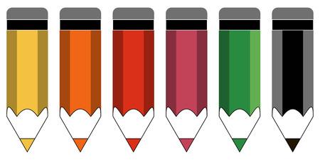 set of color pencils, cartoon pencils of different colors, vector