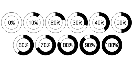 increments: The pie chart in percent. UB percent download bar for apps, web. Performance analysis in percent by increments of 10. Vector elements infografics step 10% Illustration