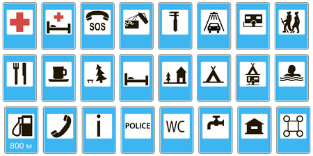 informational road signs service, Mandatory, Special regulation signs, Vector set 일러스트