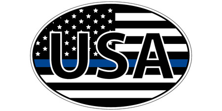 police enforcement flag sticker blue stripe symbolic of American support for law enforcement, USA flag with a blue stripe center, sticker vector Illustration