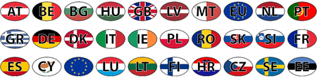 abbreviated: Flags of the country of the EU oval sticker vector with the abbreviated name of the state iso code the domain name of the country Illustration
