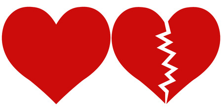 heart and Heartbreak, love and parting, Red heartbreak broken or divorce flat icon for apps and websites vector