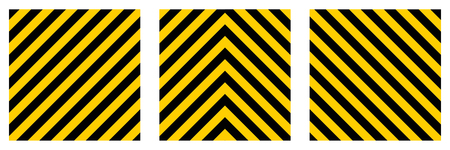 hazard stripes: set warning striped rectangular background, yellow and black stripes on the diagonal, a warning to be careful - the potential danger vector template sign