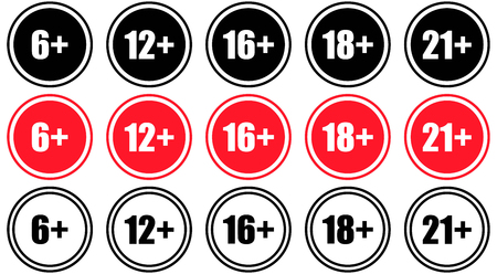 underage: Set marks age limit, sing for the restriction of the age content, vector.  Adults content icon Illustration