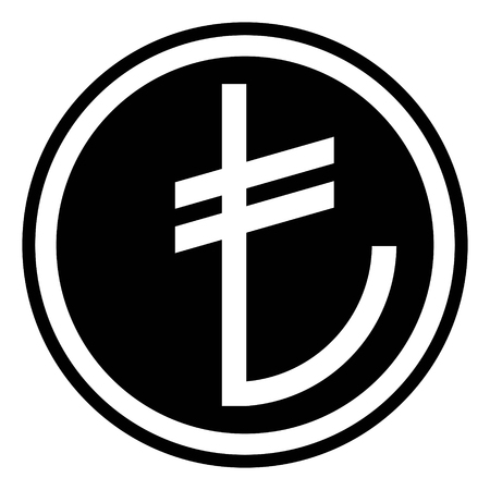 Sign of the Turkish currency, Turkish Lira, vector icon black and white color
