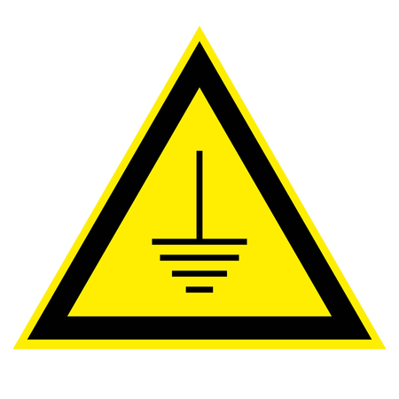 high tension: triangular sign grounding electrical equipment, the grounding vector sign