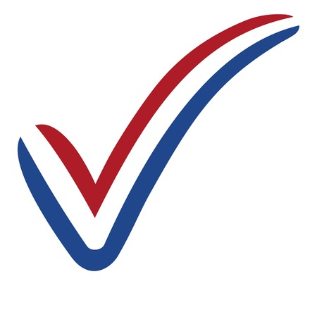 check mark style Netherlands flag symbol elections, voting and approval, vector concept Illustration