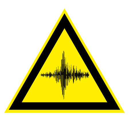 sign of high noise and acoustic vibration, vector yellow triangle