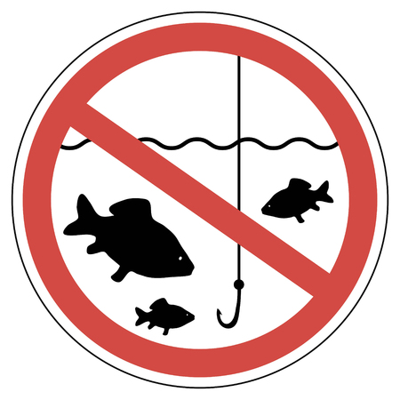 sign time of spawning, fishing is prohibited, fish not to catch, the vector sign of crossed out red circle with a fish and a fishing rod