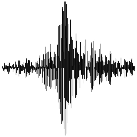 Vector sound waves. Audio equalizer technology, pulse musical Synthesis and electronic sound hearing Illustration