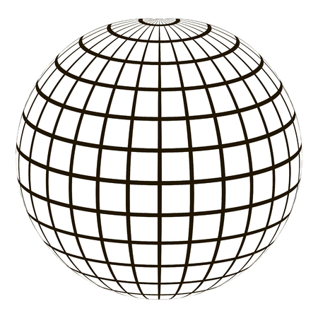 graticule: 3d globe with a coordinate grid Meridian and parallel, the field lines on the surface Meridian and parallel, vector template graticule Illustration