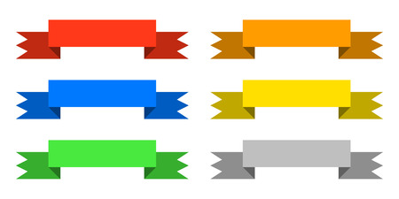 Color ribbons set icon. Origami paper infographic colorful banners set. Annotation ribbon. Advertising Design shape. Speech talking cloud