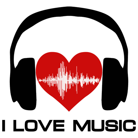 I love music, vinyl cover for a music fan poster with headphones heart with sound waves, vector for melomaniac audiophile
