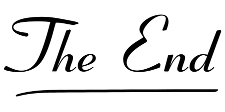cinema screen: The End Tag Calligraphy inscription. vector text The end lettering