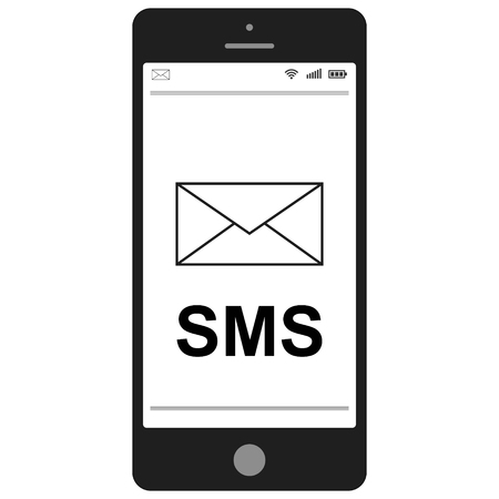short message service: Short Message Service SMS   mobile phone,  flat vector icon for apps and websites SMS