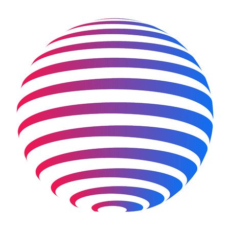 Company logo circle, sphere with horizontal stripes with a gradient from red to blue color