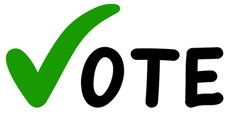 Voting Symbols vector hands design. Elections icons template.green check marks. Vector label vote. Vote elections a referendum Stock Photo