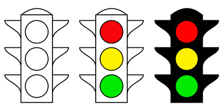 set traffic light interface icons. Red, yellow and green yes, no and wait, vector