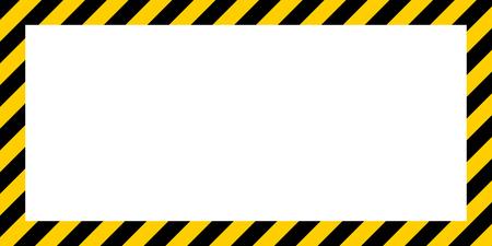 Avertissement de fond rectangulaire à rayures, rayures jaunes et noires sur la diagonale, un avertissement à prendre en compte - le signe potentiel du modèle de vecteur de danger bordure jaune et couleur noire Bordure d'avertissement de construction