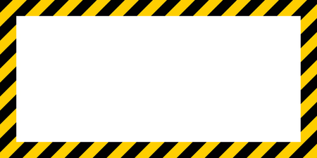 dangerous construction: warning striped rectangular background, yellow and black stripes on the diagonal, a warning to be careful - the potential danger vector template sign border yellow and black color Construction warning border