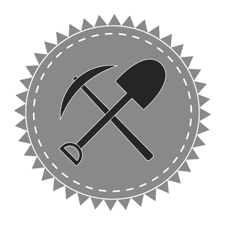 Creative logo icon digger, pick and shovel, seekers of treasure, vector