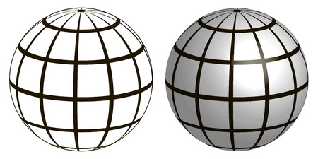 graticule: graticule globe Meridian and parallel , the field lines on the surface Meridian and parallel, vector template graticule Illustration