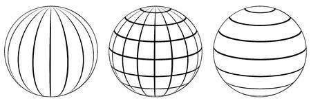 Set spheres globe earth grid, horizontally and vertically, latitude and longitude. Vector globe. Banco de Imagens - 75816706