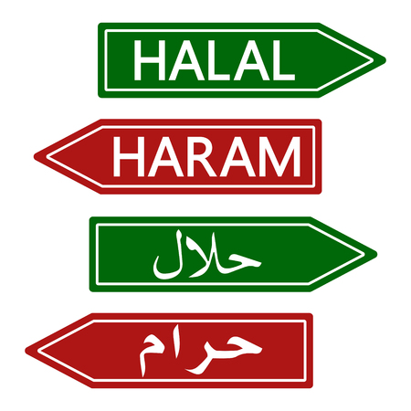 permissible: Halal and Haram Road sign, Muslim life style banner, vector prohibited and permitted illustration