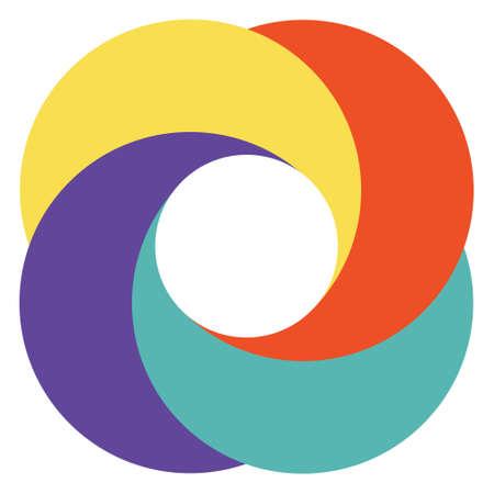 テンプレートの抽象的なロゴのダイヤフラム カメラ、カラフルな円ベクトル重なった円のパターン  イラスト・ベクター素材
