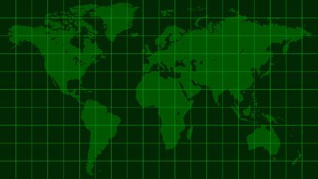 World map earth, dark green radar screen matrix style, vector template world map radar, the background of the monitor screen