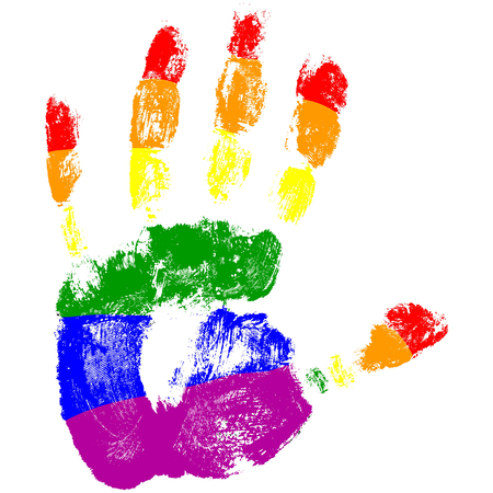 Handdruk met de kleuren van de LGBT-vlag.