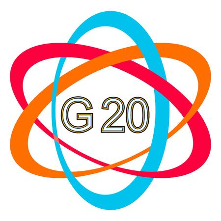 trade union: symbol logo of the G20 summit, vector icon G-20 Summit in Hamburg Illustration