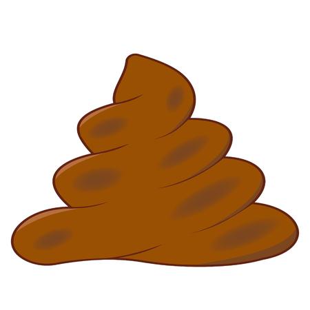 Realistic turd, brown feces, vector cartoon shit , defecation poop
