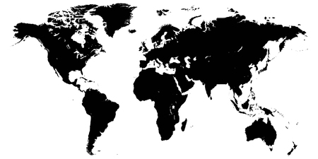 Template world map, planet earth, silhouettes of continents and Islands, vector High detail world map isolated on white background, high resolution