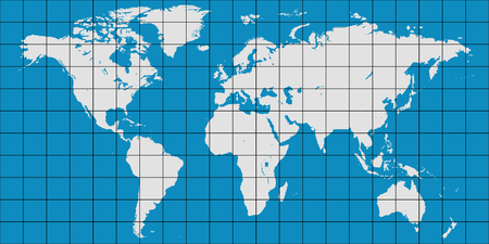 world map with coordinate grid and meridian and parallel, vector map of planet earth Illustration