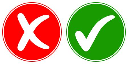 Icons Check mark tick and Cross Cancel, vector concept words OK and NO approved and rejected sign Illustration